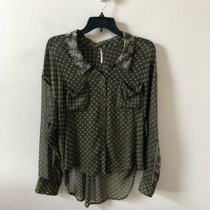 Free People Easy Rider Sheer Floral Dot Blouse- S